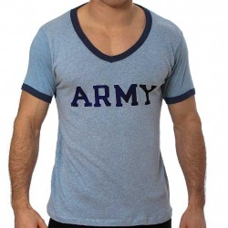 GBGB T-Shirt Ringer V-Neck Army (T0581)