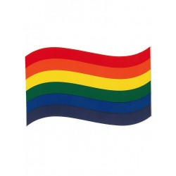Rainbow Sticker Waving Flag Sticker Waving Flag 7 x 13 cm / 3 x 5 inch (T1037)