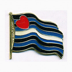 Pin Wavin Leather Flag (T1054)