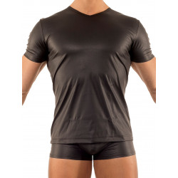 Manstore V-Neck Tee M104 T-Shirt Clubwear Fetishwear Black (T1680)