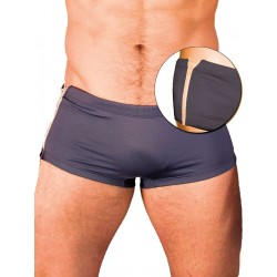 GBGB Santos Swim Boxer Swimwear Grey/White Zipper (T2603)