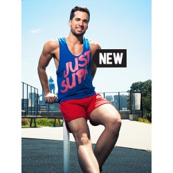 Supawear Just Supa Singlet Tank Top Blue/Pink (T2641)