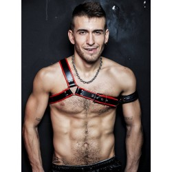 BoXer Gladiator Leather Harness Black/Red (T5935)