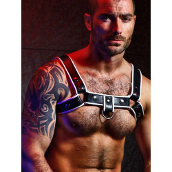 BoXer Shoulder Leather Harness w/ Ring Hook Black/White (T5954)