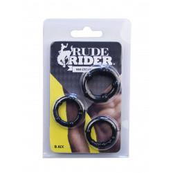 RudeRider Mini Cock Rings Black (3-Ring-Set) (T6263)
