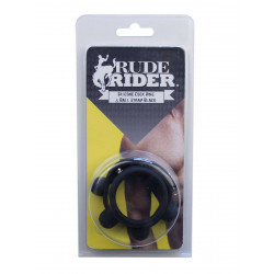 RudeRider Silicone Cock Ring & Ball Strap Black