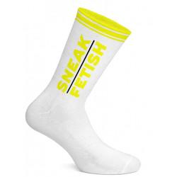 Sneak Freaxx Sneak Fetish Socks White Neon Yellow One Size (T7192)