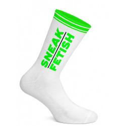 Sneak Freaxx Sneak Fetish Socks White Neon Green One Size (T7196)