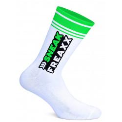 Sneak Freaxx Big Stripe Green Neon Socks White One Size (T7643)