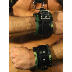 RudeRider Wrist Cuffs with Padding Leather Camo (Set of 2) One Size (T7357)