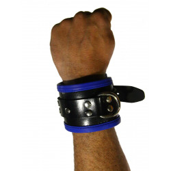 RudeRider Wrist Cuffs with Padding Leather Black/Blue (Set of 2) One Size (T7334)