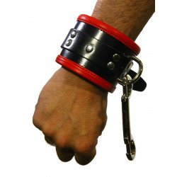 RudeRider Wrist Cuffs with Padding Leather Black/Red (Set of 2) One Size