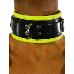 RudeRider Collar 3 D-Ring with Padding Leather Black/Yellow One Size (T7341)