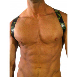 RudeRider Shoulder X-Back Harness Leather Camo/Chrome (T7356)