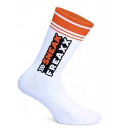 Sneak Freaxx Big Stripe Orange Neon Socks White One Size (T7647)