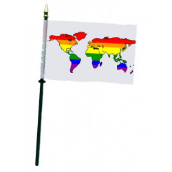Rainbow World White Hand Flag / Handflagge (T7774)