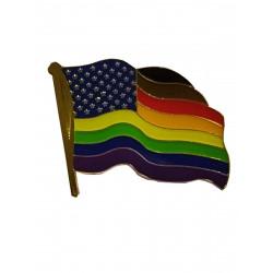 Pin Philadelphia (or POC) Waving Flag with Stars (T7749)