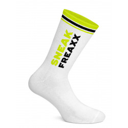 Sneak Freaxx Black Yellow Neon Socks White One Size (T7651)