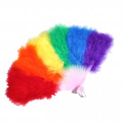 Feder-Fächer Regenbogen / Marabou Feather Fan Rainbow (T0143)