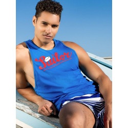 2Eros Anchor / Sailor Singlet Tank Top Blue