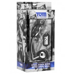Tom of Finland Cock Ring With Anal Ball Stainless Steel 50mm/32mm (T4277)