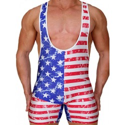 Pistol Pete USA Wrestling Singlet/Body Multi (T4332)