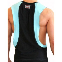 GB2 Arnold Training Muscle Tank Top Black/Sky Blue (T4401)