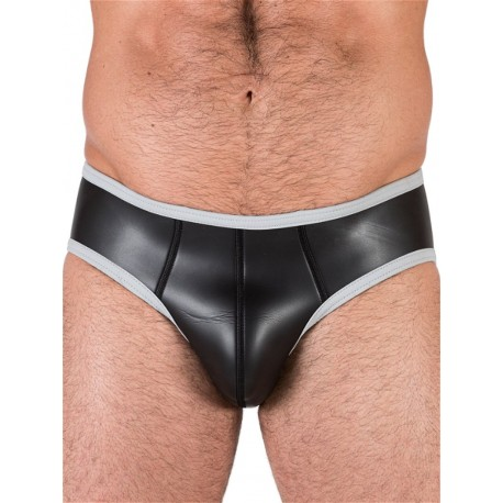 Neoprene Open Back Bottoms Underwear Black/Grey (T4482)