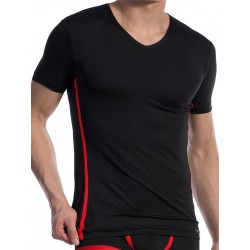 Olaf Benz V-Neck T-Shirt Regular RED1604 Black/Red