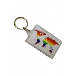 Rainbow World White Key Ring (T5139)